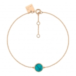 bracelet or rose 18 carats et turquoise by Ginette NY