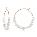 18 carat rose gold hoops and pearls by Ginette NY