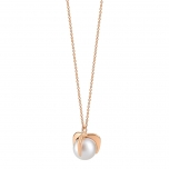 18 carat rose gold necklace and pearls by Ginette NY