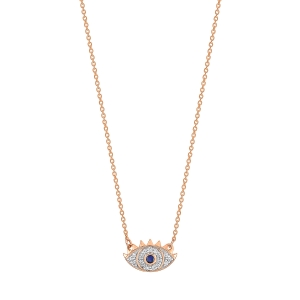 18 carat rose gold necklace sapphire and diamonds<br>by Ginette NY