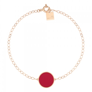 18 carat rose gold bracelet and red coral<br>by Ginette NY