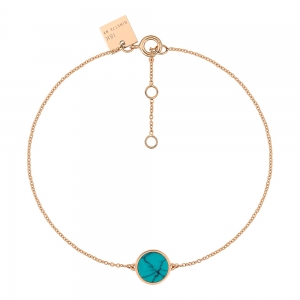 bracelet or rose 18 carats et turquoise <br>by Ginette NY