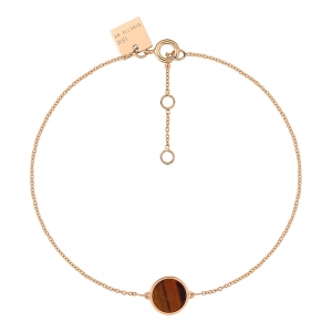 18 carats rose gold bracelet and tiger eye<br>by Ginette NY