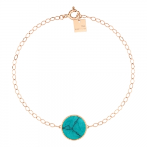 18 carats rose gold bracelet and turquoise <br>by Ginette NY