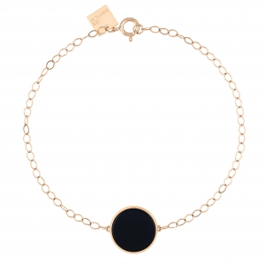 18 carat rose gold bracelet with onyx<br>by Ginette NY