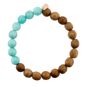bracelet or rose 18 carats, amazonite et bois<br>by Ginette NY
