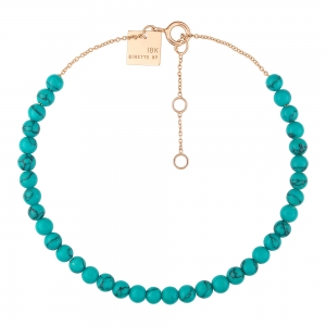 18 carat rose gold bracelet and turquoise <br>by Ginette NY