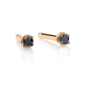18 carat rose gold and black diamonds earrings<br>by Ginette NY