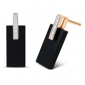 boucles d'oreilles or rose 18 carats, onyx et diamants<br>by Ginette NY