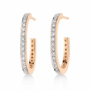18 carat rose gold earrings with diamonds<br>by Ginette NY