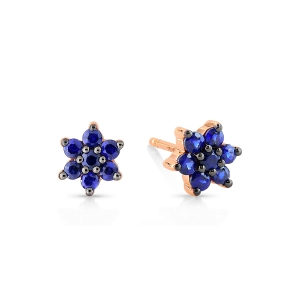 18 carat rose gold studs and sapphires<br>by Ginette NY