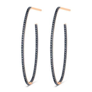 18 carat rose gold hoops and black diamonds <br>by Ginette NY