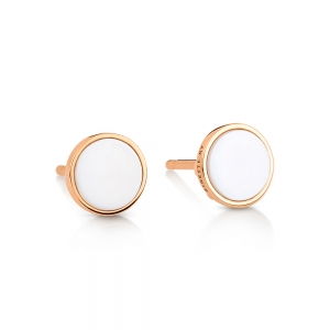 18 carat rose gold studs and white agate<br>by Ginette NY