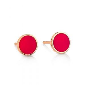 18 carat rose gold studs and red coral<br>by Ginette NY