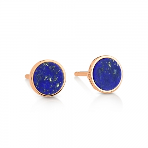boucles d'oreilles or rose 18 carats et lapis<br>by Ginette NY