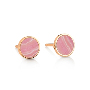 18 carat rose gold studs and rhodocrosite<br>by Ginette NY