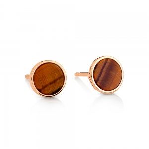18 carat rose gold studs and tiger eye<br>by Ginette NY