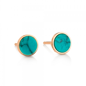 boucles d'oreilles or rose 18 carats et turquoise<br>by Ginette NY