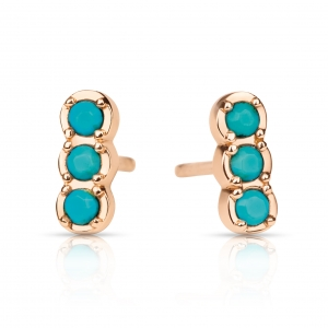 boucles d'oreilles or rose 18 carats et turquoises by Ginette NY