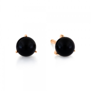 18 carat rose gold studs and black onyx <br>by Ginette NY