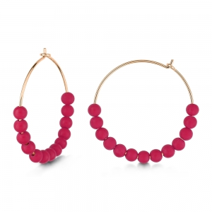 18 carat rose gold hoops and red coral <br>by Ginette NY