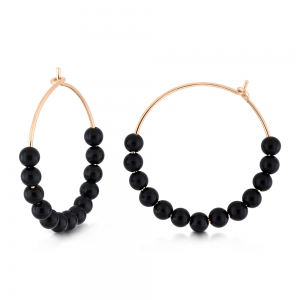 18 carat rose gold hoops and black onyx <br>by Ginette NY