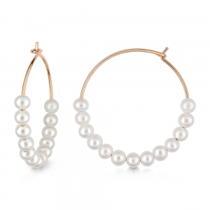 boucles d'oreilles or rose 18 carats et perles<br>by Ginette NY