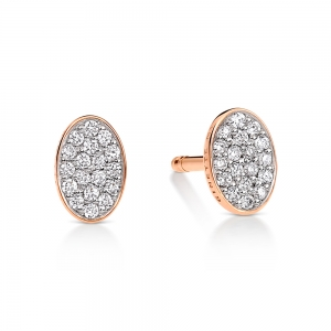 18 carat rose gold earrings and diamonds<br>by Ginette NY