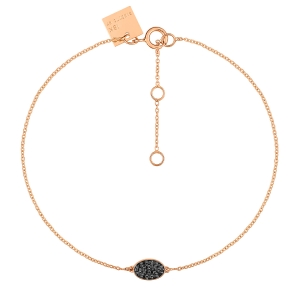 bracelet or rose 18 carats et diamants noirs<br>by Ginette NY