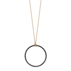 18 carat rose gold and black diamonds necklace<br>by Ginette NY