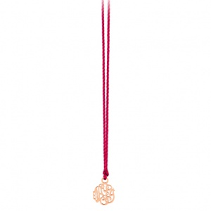 collier or rose 18 carats sur cordon de soie rouge    by Ginette NY