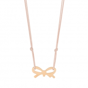 collier or rose 18 carats sur cordon de soie rose    by Ginette NY