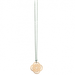 collier or rose 18 carats sur cordon de soie gris    by Ginette NY