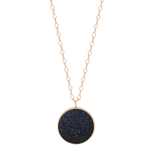18 carat rose gold necklace and blue sand stone<br>by Ginette NY