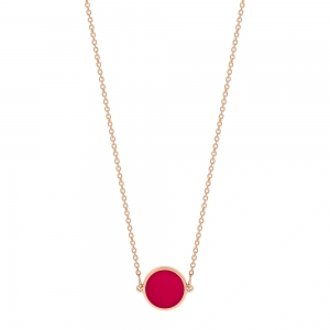 18 carat rose gold necklace and red coral<br>by Ginette NY