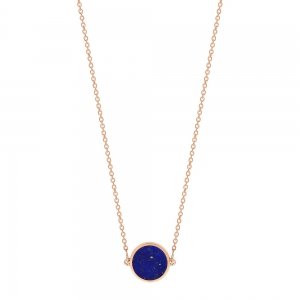 18 carat rose gold necklace and lapis<br>by Ginette NY