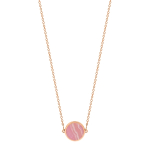 18 carat rose gold necklace and rhodocrosite<br>by Ginette NY