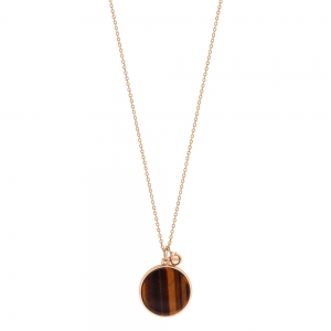 18 carat rose gold necklace and tiger eye<br>by Ginette NY