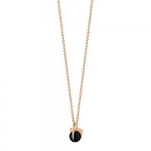 collier or rose 18 carats et onyx noir<br>by Ginette NY
