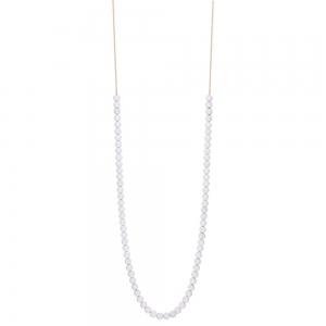 collier or rose 18 carats et agate blanche<br>by Ginette NY
