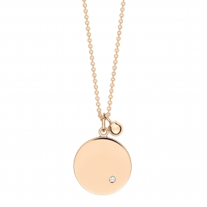 collier or rose 18 carats avec diamant <br>by Ginette NY