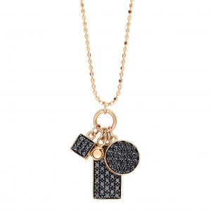 collier or rose 18 carats avec diamants noirs <br>by Ginette NY
