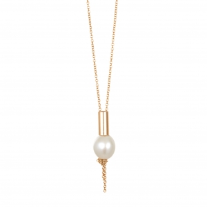 collier or rose 18 carats et perle de culture by Ginette NY
