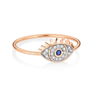bague or rose 18 carats saphir et diamants<br>by Ginette NY