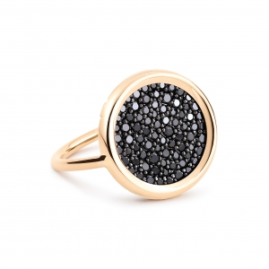 bague or rose 18 carats avec diamants noirs <br>by Ginette NY