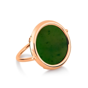 18 carat rose gold and jade ring by Ginette NY
