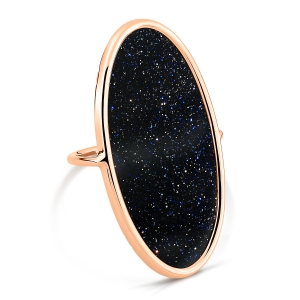 18 carat rose gold ring and blue sand stone<br>by Ginette NY