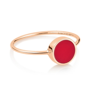 bague or rose 18 carats et corail rouge<br>by Ginette NY