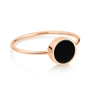 bague or rose 18 carats et onyx noir<br>by Ginette NY