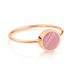 bague or rose 18 carats et rhodochrosite<br>by Ginette NY